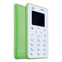 Новое поступление ультра тонкий AIEK/aeku X6 мини сотовый телефон карты студент разблокирован мини мобильный телефон карман multi Язык