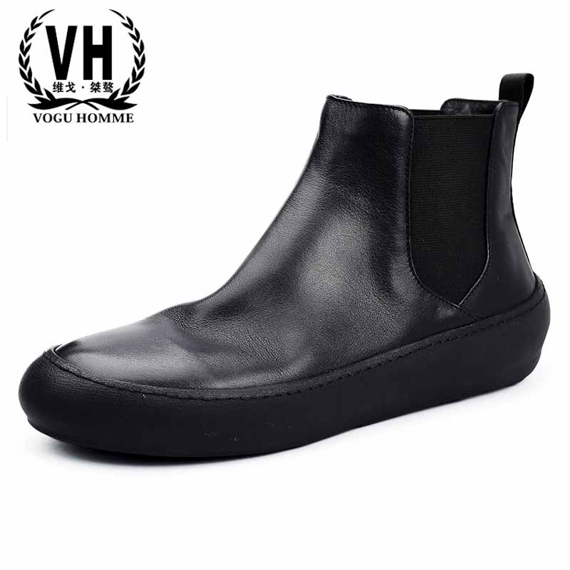 men's British fashion retro real leather casual high top shoes autumn winter men's Chelsea boots all-match cowhide Martin boots