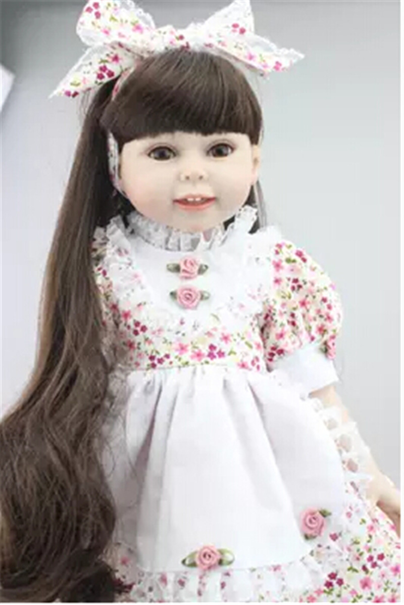 Adorable Girl Doll Princess Doll with Floral Skirt,Cute 18 Vinyl Dolls Toys for Children Christmas Gift 18 inch newest vinyl dolls girl doll with dress and hat lovely princess doll toys for children christmas gift