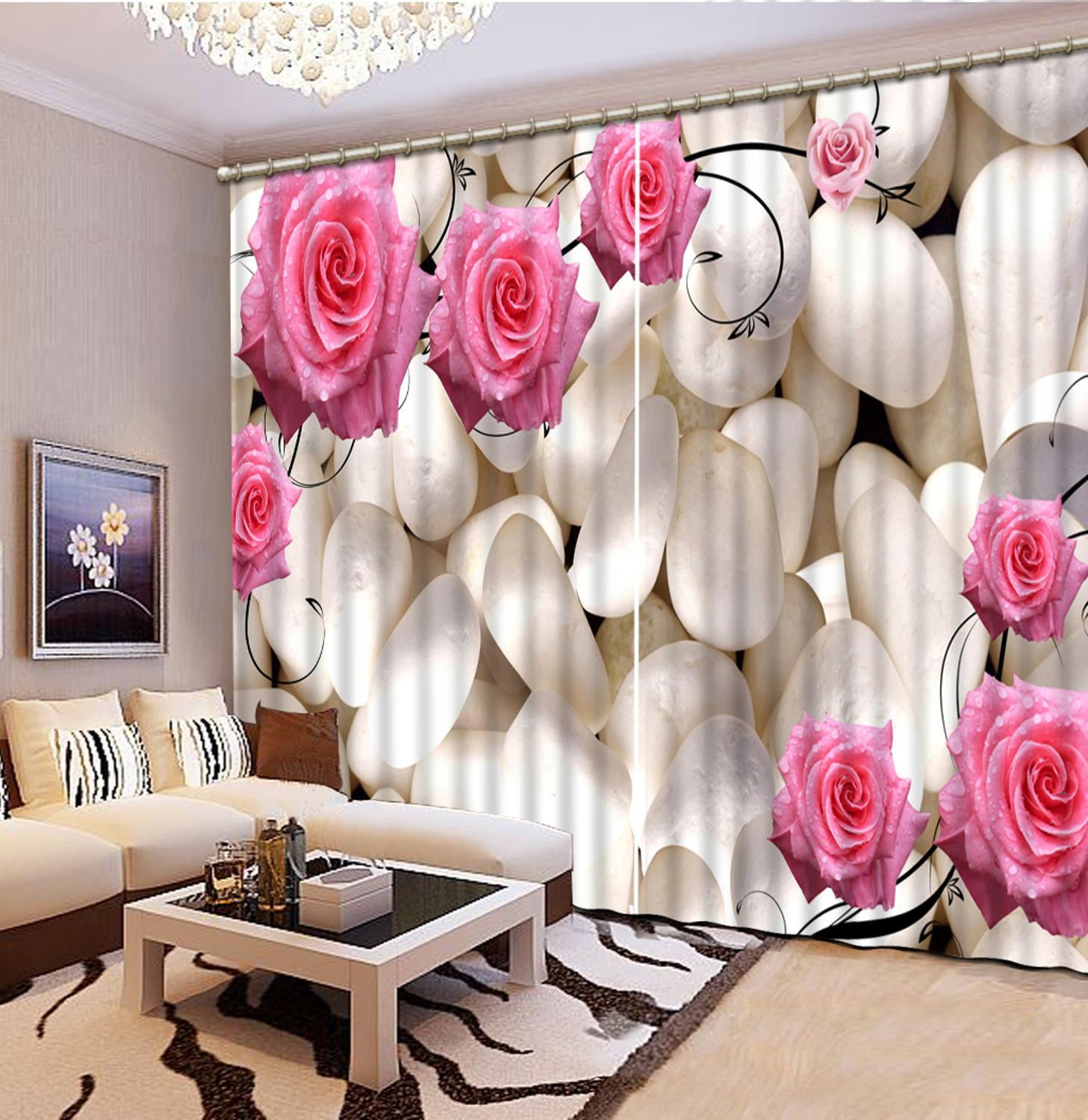 Customize European fashion curtains for living room bedroom Pebble flowers curtains home decorCustomize European fashion curtains for living room bedroom Pebble flowers curtains home decor