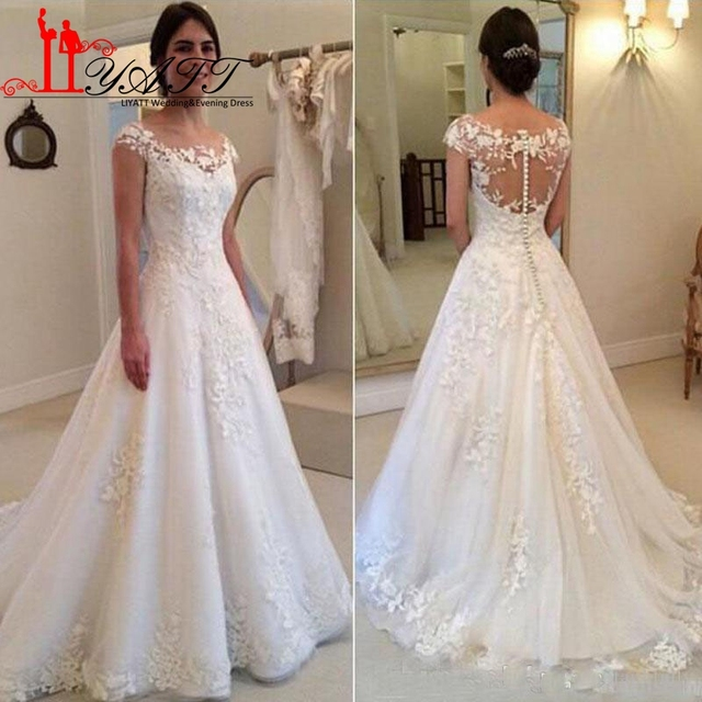 Aliexpress compre liyatt 2017 a line wedding dresses elegant liyatt 2017 a line wedding dresses elegant garden western country jewel lace vintage bridal gowns appliques junglespirit Images