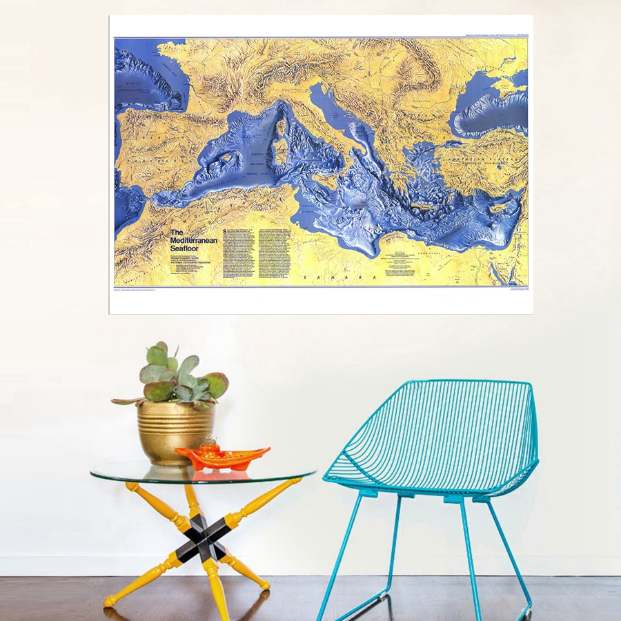HD Artwork the Mediterranean Seafloor Map Retro Picture Print on Canvas Cool Home Decoration Wall Art Painting No Frame Gift