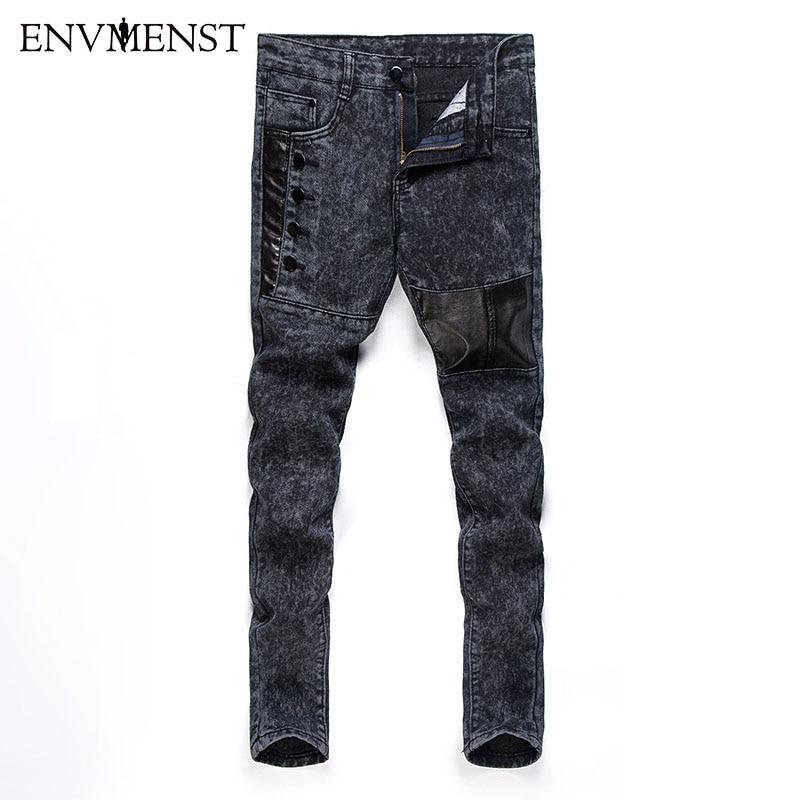 Envmenst 2017 Autumn Brand Designed High Street Leather Patchwork Button Men's Jeans Skinny Denim Pencil Pants Male Trousers Men
