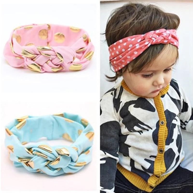 Baby Head Wrap Cotton Rabbit Ear Headband Pink Gold Headband Girls Hair Accessory Polka Dot Top Knot Headband