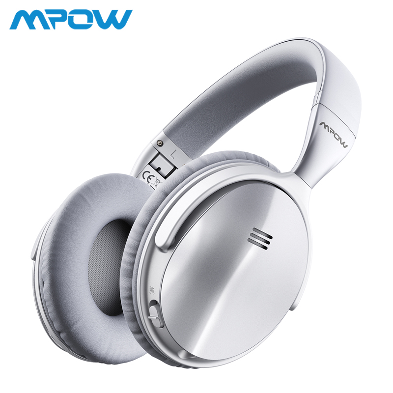 Mpow H5 Silver Wireless/Wired Headphones Bluetooth V4.1 Active Noise Cancelling Headset Deep Bass For iPhone Xiaomi Huawei SONY origial mpow h5 2nd generation anc wireless bluetooth headphone wired wireless with mic carrying bag for pc iphone huawei xiaomi
