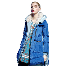 2015 Elf SACK New Winter Thick Female Solid Long Fur Hooded packable padded Women Down Coat