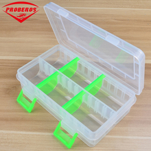 High Quality Transparent Plastic Fishing Tackle Box Compartment Fishing Accessories Storage Box Contain 4 Adjustable dividers