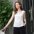 Nuevo 2016 de calidad superior de las mujeres cómodas pedrería bordado en forma de I gasa camisolas y tanques tops