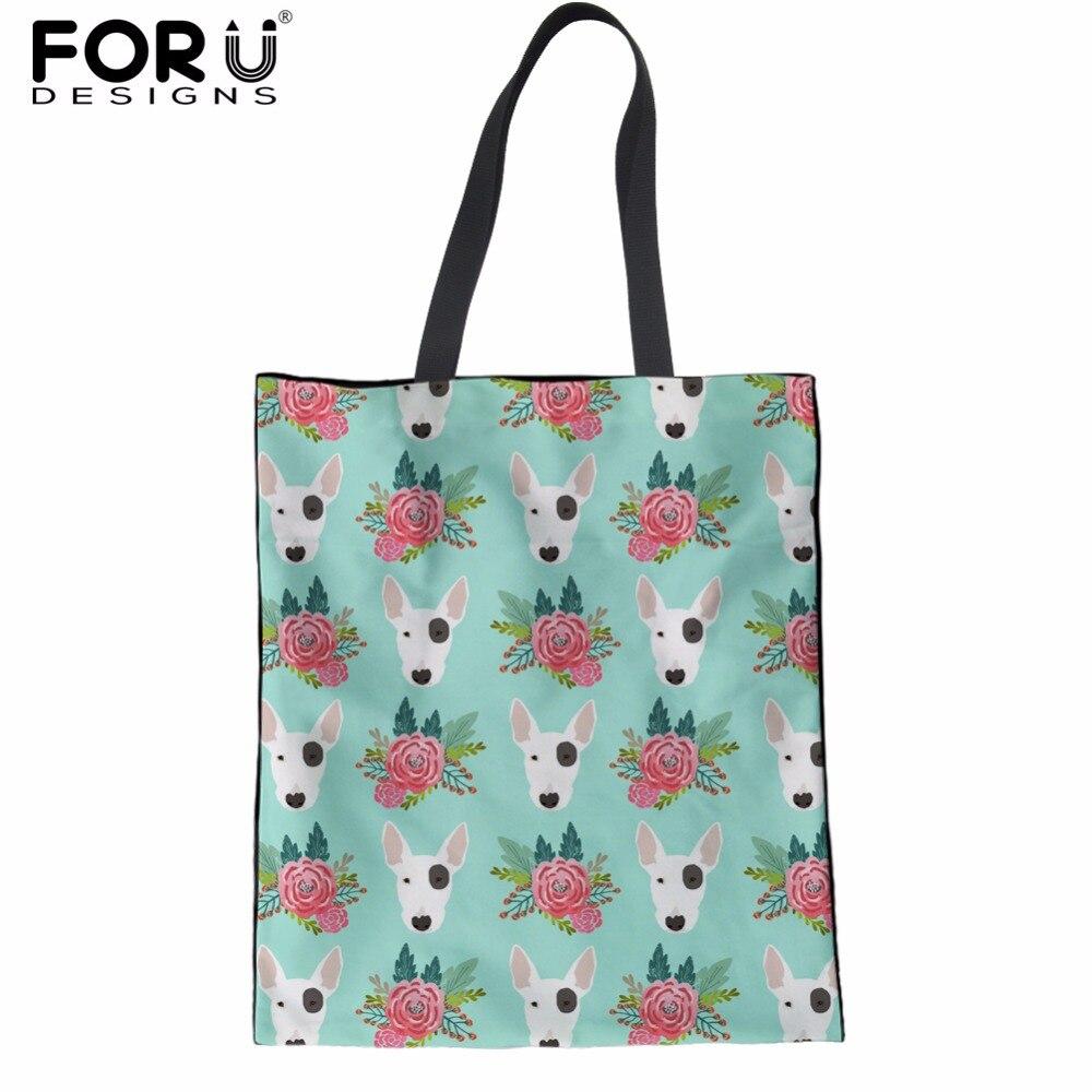FORUDESIGNS Cute Bull Terrier Prints Fashion Women Shopping Bags Cotton Female Mom eco Tote Shoulder Bags Foldable Shopper Bags