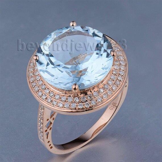 Подлинная камень женские Кольца одноцветное 14kt розовое золото натуральный голубой топаз diamond Обручение кольцо, природных драгоценных камн... ...
