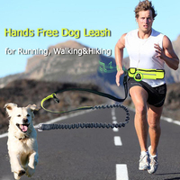 Hands Free Dog Leash For Running Walking Hiking Durable Dual Handle Bungee Leash Reflective Stitching Adjustable