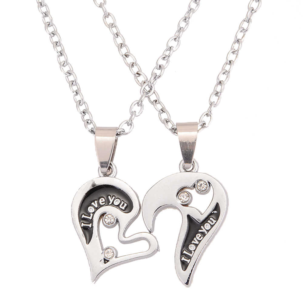 40cm I LOVE YOU Pendant Link Chain Necklace Valentine Relationship Necklaces for Lovers Couple Silver Jewelry