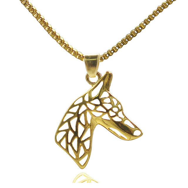 Doberman Jewelry Dog Gold Color Pendant Animal Necklaces For Pet Lovers Tiny Women's Gift Pet Jewelry Stores
