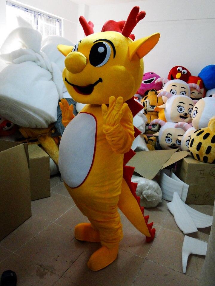 gele Dragon mascotte kostuums voor volwassenen kerst Halloween Outfit - Carnavalskostuums