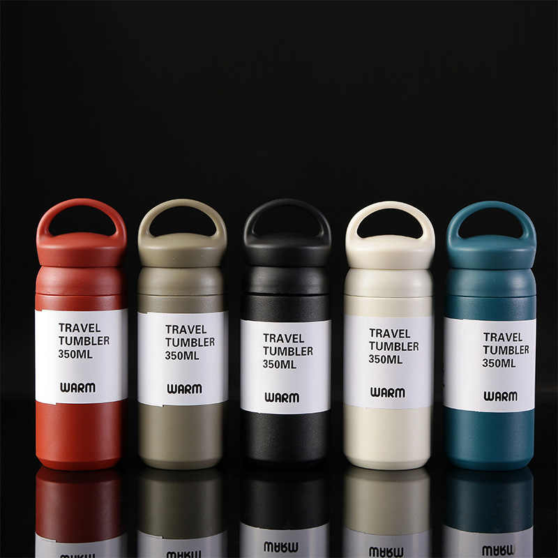 2019 Fashion 350ML Insulated Vacuum Flasks Stainless Steel office Thermos cup Water Bottle portable handle Lid Travel coffee Mug