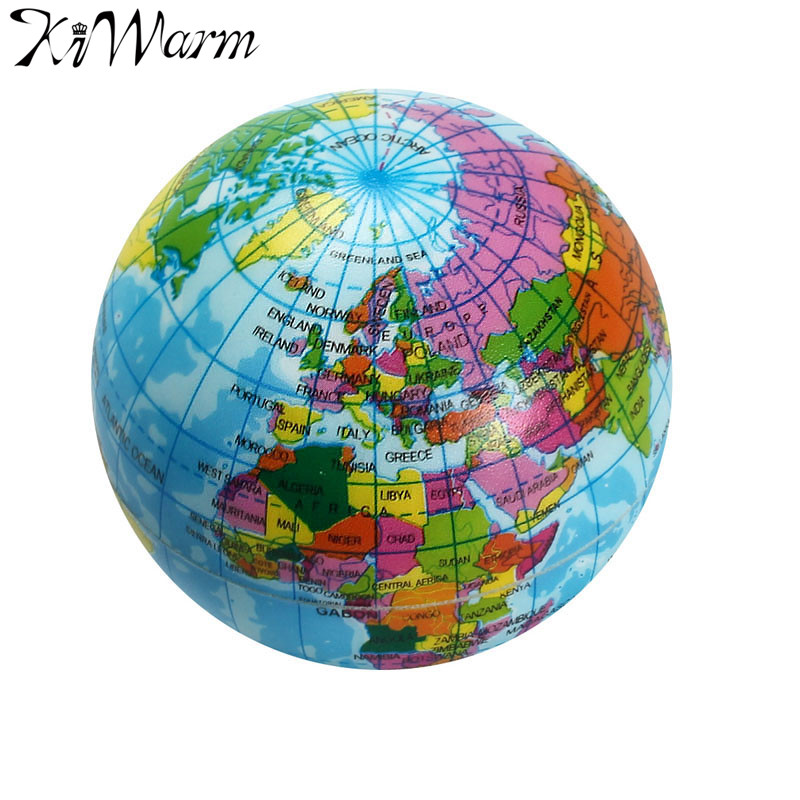 Map Of The Globe Of The World.Us 1 49 New Mini Foam World Globe Teach Education Earth Atlas Geography Toy Map Elastic Ball Model Figurines Ornaments Crafts 7 5cm In Figurines