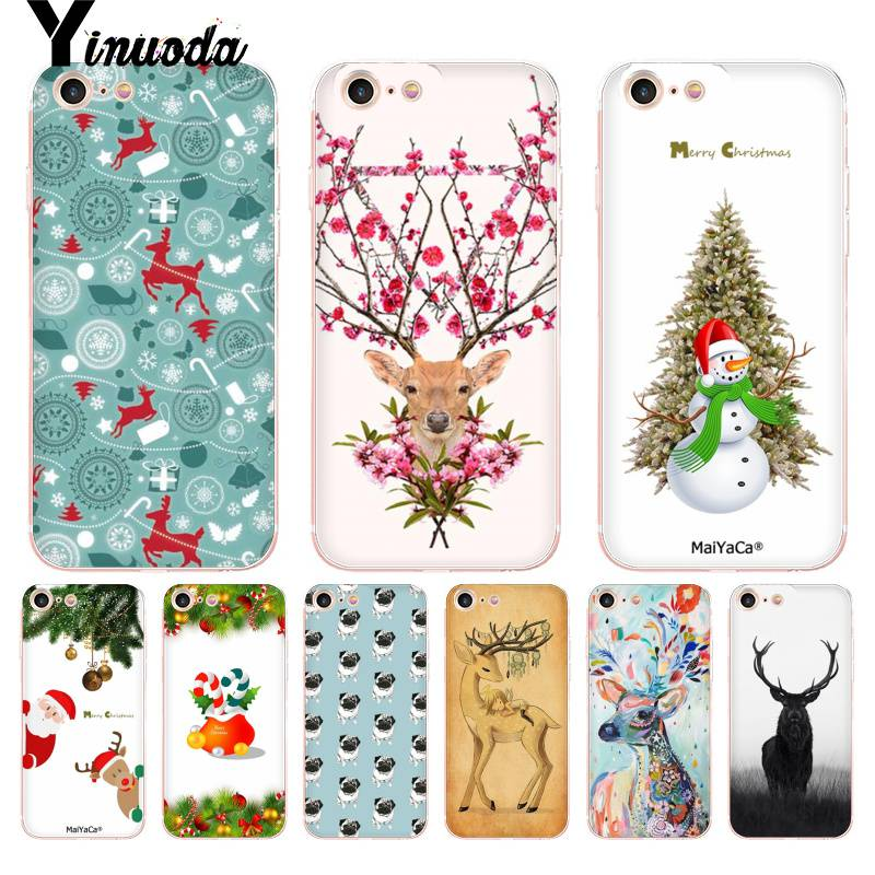 Yinuoda For iPhone 7 6 X Case Merry Christmas Deer Transparent Phone Cover Case for iPhone 8 7 6 6S Plus X XS XR 5C 4 4S Cases