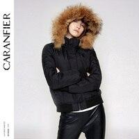 CARANFIER зима Для женщин куртки и пиджаки Водонепроницаемый ткани модное пальто молния толстый теплый широкий мех енота Куртка с воротником па