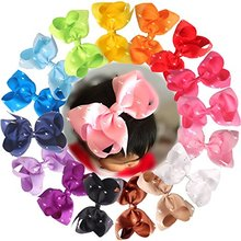 16pcs 6 inches Large Big Hair Bows With Sparkly Rhinestones Hair Bow Clips Children Hair Clips Girls Clips