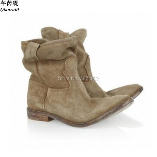 11ae1619c0f76 Qianruiti Fashion Concise Style Women Ankle Boots Suede Leather Flat Short  Botas Slip-on Female Crisi Motorcycle Boots Eu 34-42