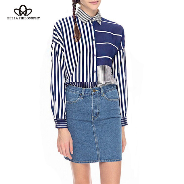 ac82a458 2017 new style spring summer vertical horizontal navy blue striped long  sleeve chiffon blouse shirts match
