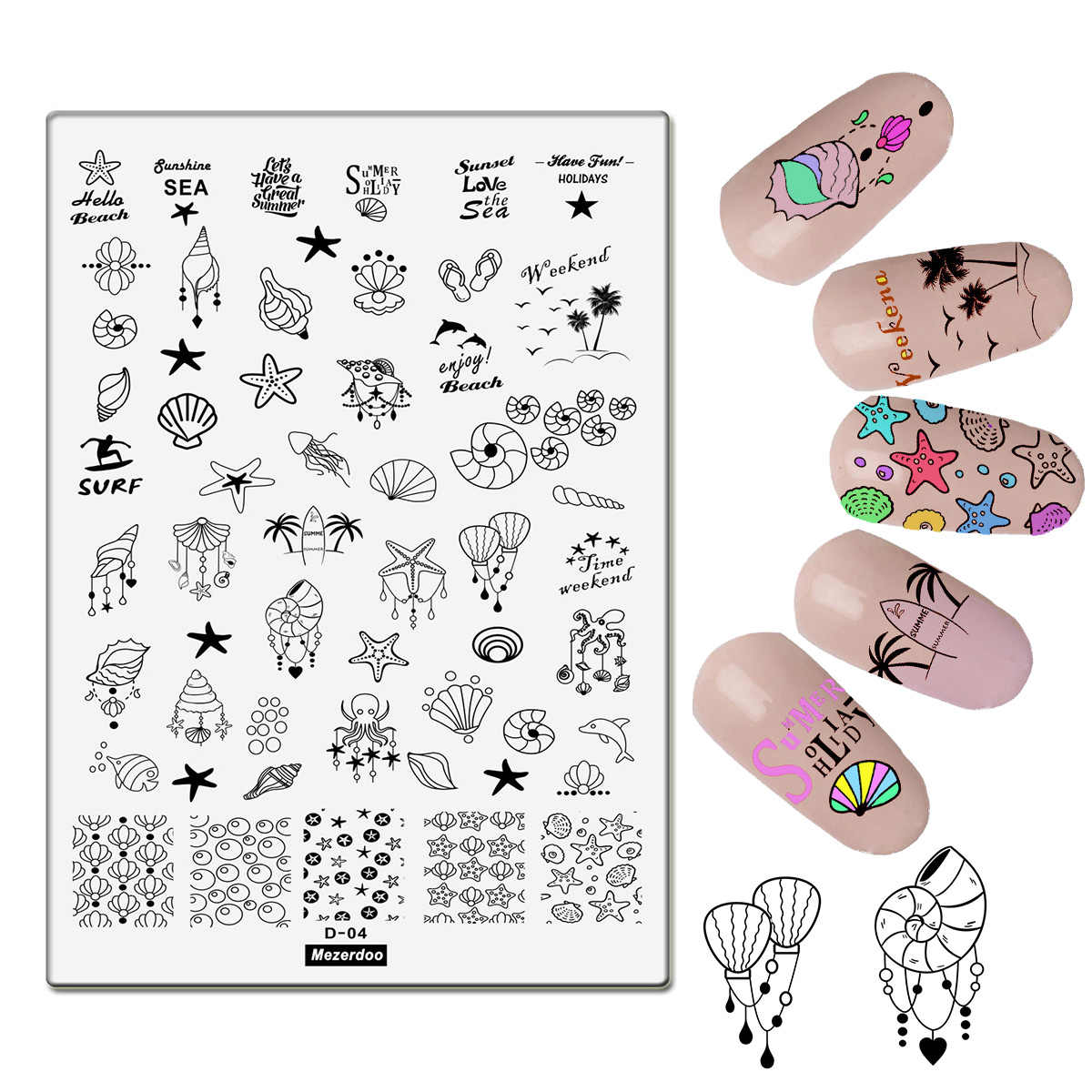 Summer Holiday Large Nail Art Image Stamp Template Plates Sea Theme Conch Starfish Shell Design Polish Stamping Manicure Tools
