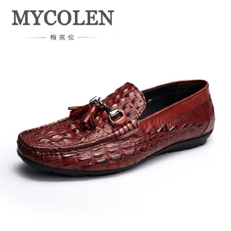 MYCOLEN Brand Men Shoes Genuine Tassel Leather Men Flats Wedding Party Men Loafers Breathable Moccasins Boat Shoes schuhe herren handmade men flats shoes luxury brand business casual men s shoes breathable loafers genuine leather fashion shoes moccasins 8
