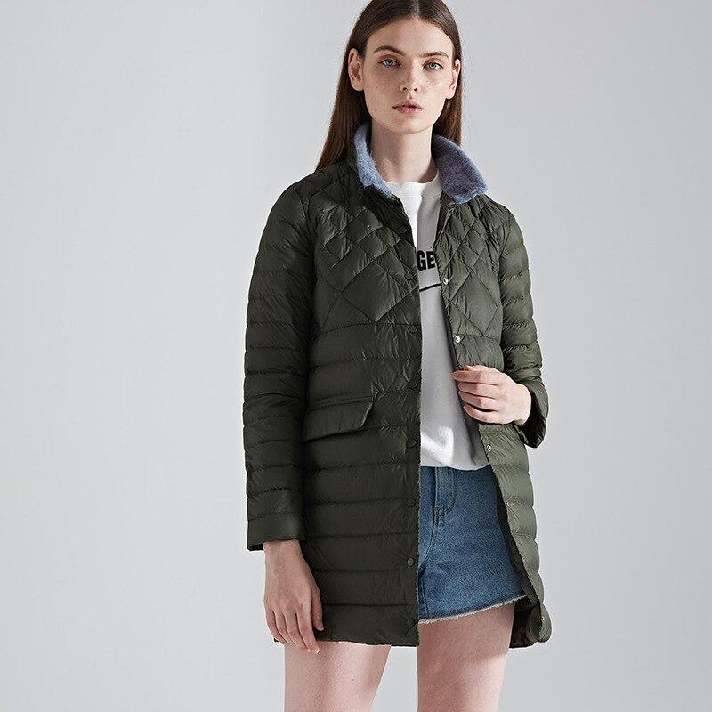 New arrival 2019 autumn winter thin   down   jacket women medium long stand collar pockets white duck   down     coat   outerwear