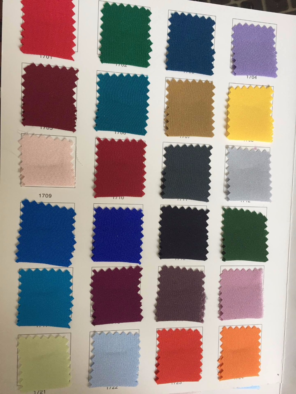 Howmay 100 pure silk fabric crepe de chine 30m m 45 130gsm 114cm CDC color chart