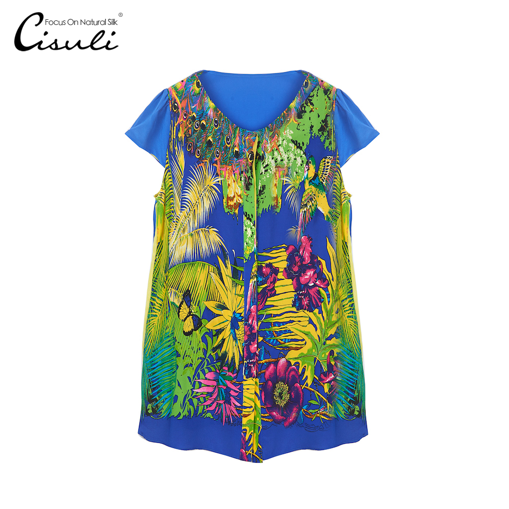 CISULI 100 Silk Chiffon Shirt Pure Silk Foral Printed Pattern Casual Shirt New Arrive Women Summer