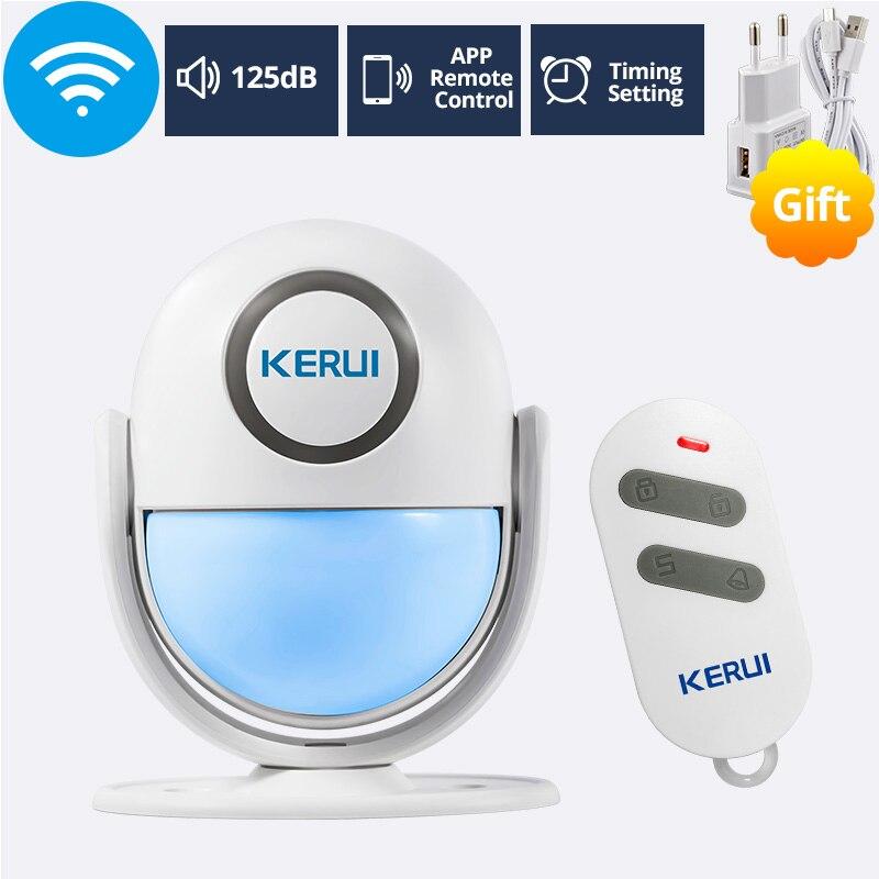 Kerui 125db wp6 pir movimento alarme campainha da porta de segurança em casa app controle detector de sensor de assaltante campainha bem-vindo sos sistemas de alarme