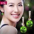 Marca famosa cristal verde pendientes párrafo largo stud pendientes de corea moda exageración para mujer regalo novia