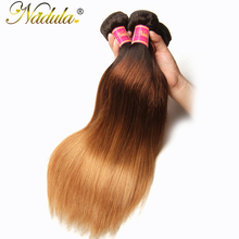 Nadula Hair T1B/4/27 Ombre Brazilian Straight Hair Extensions 1Piece Can Be Mixed Non Remy Hair Bundles 100% Human Hair Weaves