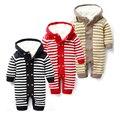 Bebê Com Capuz Romper 0-18 Meses De Malha Suéter Listrado de Algodão Grosso Manga Longa Outono Inverno Infantil Da Menina do Menino Do Bebê roupas