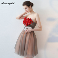 18 3D Flowers cocktail dresses 2018 New Sweetheart tulle A Line Cocktail party Gown short homecoming dress for Short prom Gowns