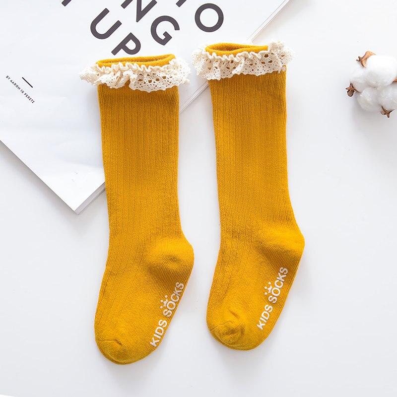 Новые детские носки гольфы с большим бантом для маленьких девочек, мягкие хлопковые кружевные детские носки kniekousen meisje, Прямая поставка#30 - Цвет: Lacy khaki