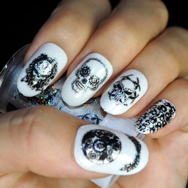 New Nail Art Stickers Holographic Skull Skeletons Halloween Series