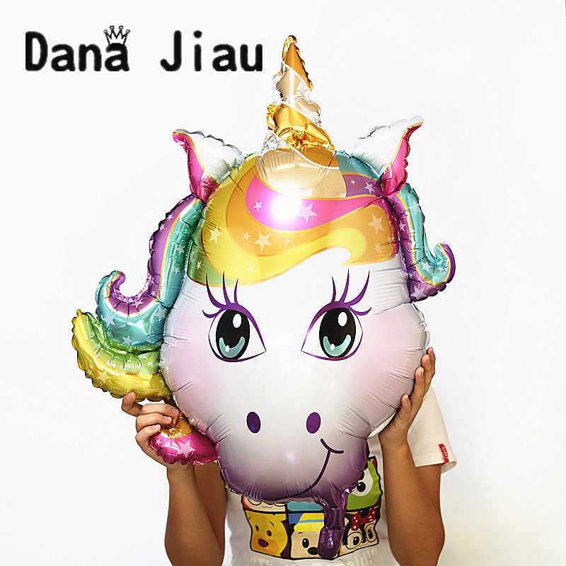 Globos de fiesta de cumpleaños globos de aluminio con cara de unicornio