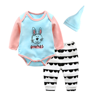 Spring Newborn Sets Baby Clothes Spring And Autumn Cotton Romper And Pant And Caps