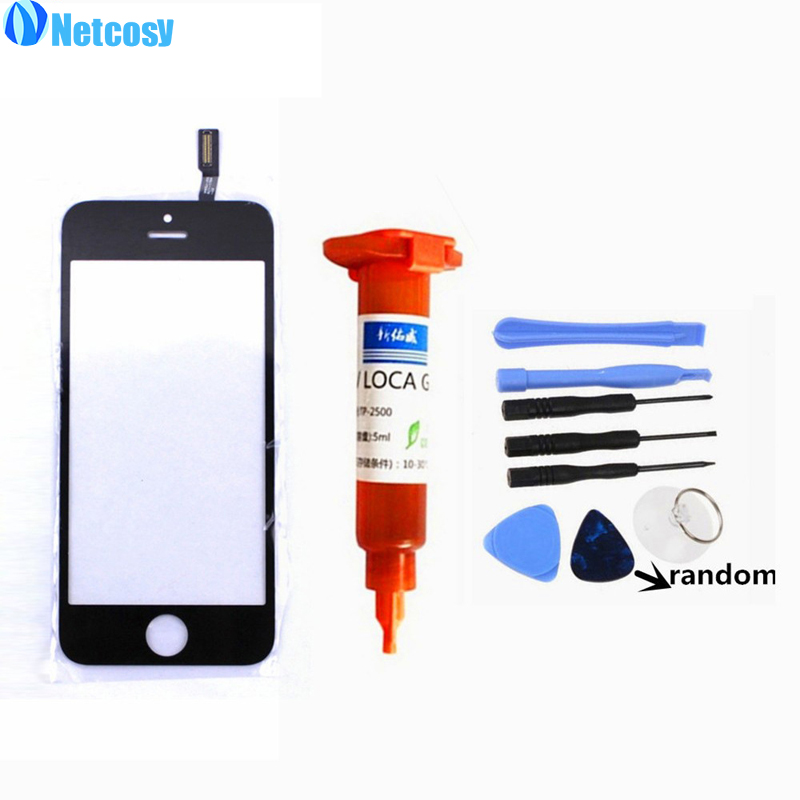 Netcosy For apple 5s 5th TouchScreen Digitizer Glass Lens sensor replacement parts for iphone 5s 5th touch panel +5ml UV+Tool