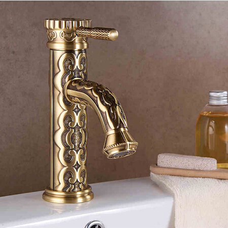 New European Style antique carved brass bathroom faucet hot and cold water basin faucet Single Handle sink faucet tap single handle bathroom faucet basin carving tap swivel sink water tap antique brass hot and cold kitchen mixer faucet with hose