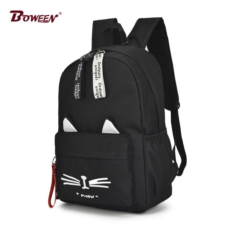 Casual cartoon girl backpack schoolbag for teenage women back pack nylon solid school backpack famale teen bagpack 2018 new hot cynthia cee c nwadiora