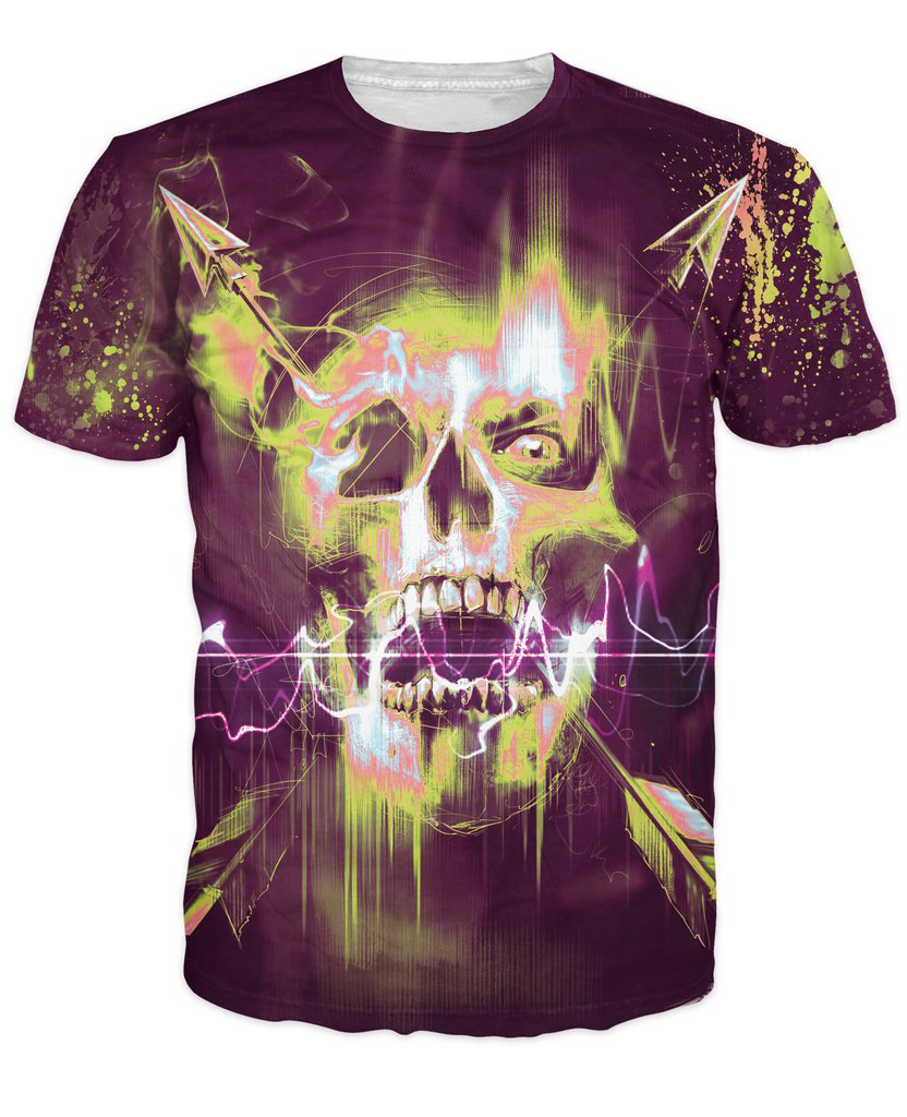 Electric Skull T-Shirt skull surrounded by neon color and paint splatters 3d t shirt summer Casual tshirts For Women Men