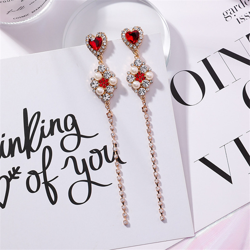HTB1av2OXcfrK1Rjy1Xdq6yemFXak - 2019 New Hot Sale 20 Style Red Fashion Korean Elegant Geometric Dangle Earrings for Women Cute Pendant Mujer Jewelry