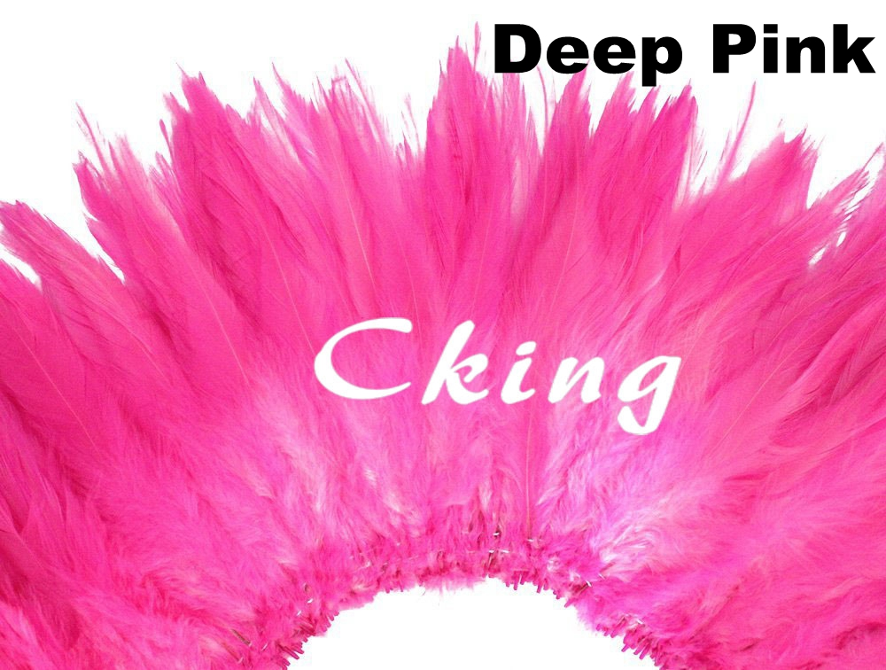 Free shipping 1kg Deep Pink Beautiful Decolorizing Natural Grizzly Rooster Saddle Feathers Hair Extensions 6 8inch