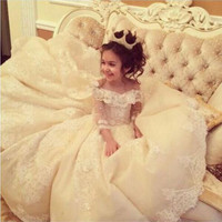 Flower Girl Dresses with Train Lace Ball Gown Little Girls Dresses White Ivory Wedding Party Dress