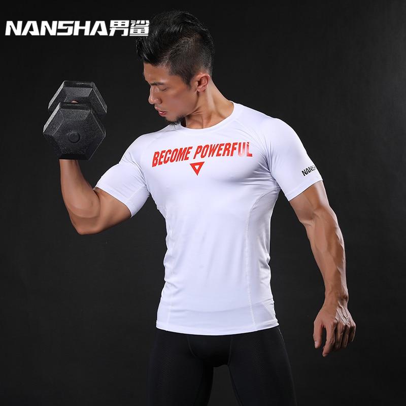NANSHA márka férfi szoros fitnesz testépítés póló betűk nyomtatás Crossfit utcai ruházat edzés vékony edzőterem rövid ujjú pólók