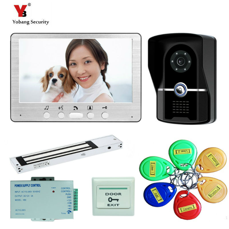 Yobang Security freeship 7 Security Doorbell Camera Video Intercom Interphone Night View Doorbell Intercom 1 monitor+1 camera yobang security freeship 7 video intercom for villa 2 monitor doorbell camera with 5pcs rfid cards hd doorbell camera in stock