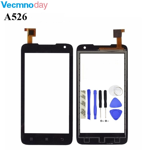 Vecmnoday 4.5'' Touch Panel For Lenovo A526 526 Touch Screen Front Glass Digitizer Front Glass Black White Color+tools