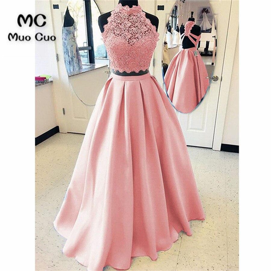 Элегантный 2018 Румяна розовые платья для выпускного вечера длинное платье из двух частей ТРАПЕЦИЕВИДНОЕ ПЛАТЬЕ Vestido Longo атласное вечернее пл